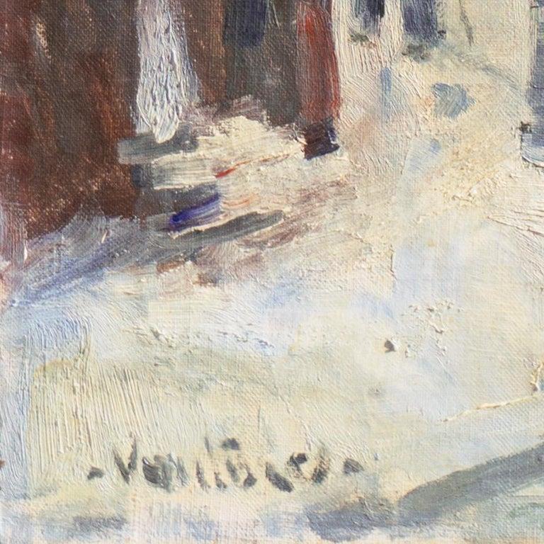 'Montmartre in Winter', Paris Post-Impressionist oil, Charlottenborg, Copenhagen - Painting by Mogens Erik Christien Vantore