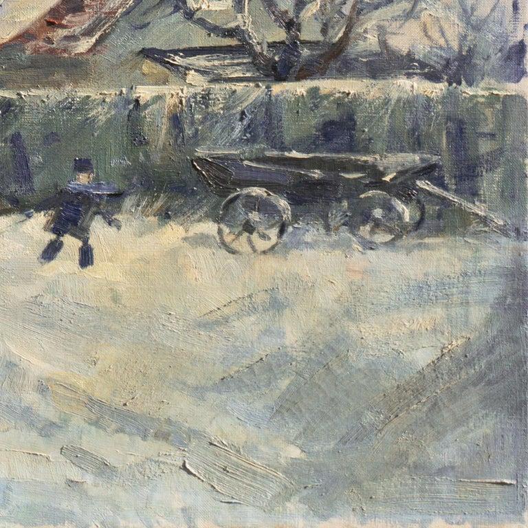 'Montmartre in Winter', Paris Post-Impressionist oil, Charlottenborg, Copenhagen - Gray Figurative Painting by Mogens Erik Christien Vantore