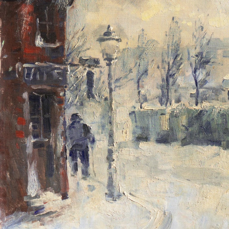 'Montmartre in Winter', Paris Post-Impressionist oil, Charlottenborg, Copenhagen For Sale 1