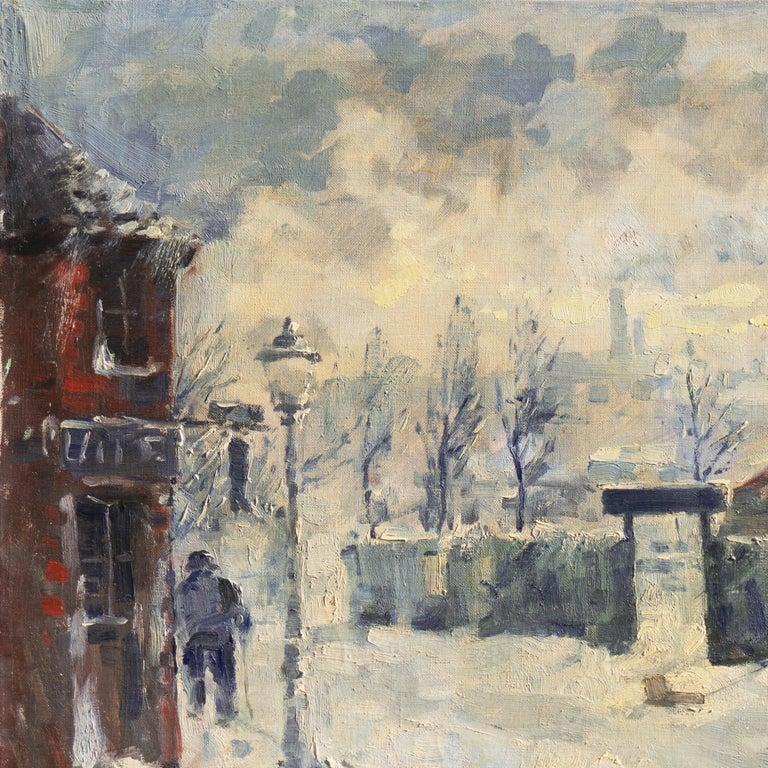'Montmartre in Winter', Paris Post-Impressionist oil, Charlottenborg, Copenhagen For Sale 2
