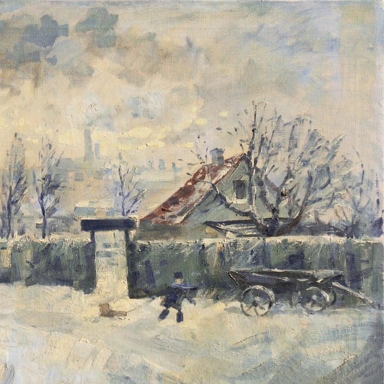 'Montmartre in Winter', Paris Post-Impressionist oil, Charlottenborg, Copenhagen For Sale 3