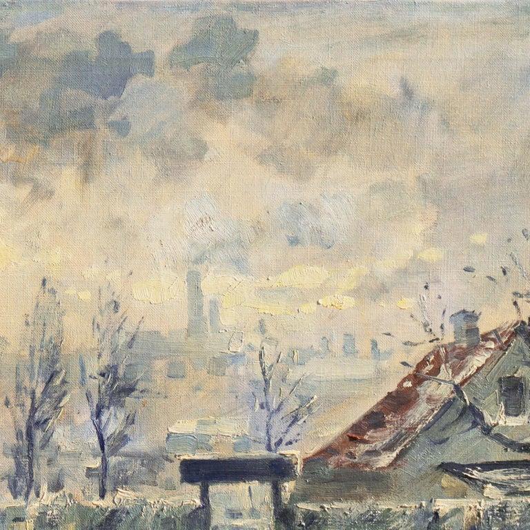 'Montmartre in Winter', Paris Post-Impressionist oil, Charlottenborg, Copenhagen For Sale 4