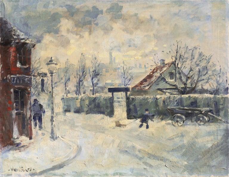 Mogens Erik Christien Vantore Figurative Painting - 'Montmartre in Winter', Paris Post-Impressionist oil, Charlottenborg, Copenhagen