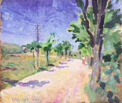 Danish Post-Impressionist Landscape, Italian Country Lane on a Sunny Afternoon