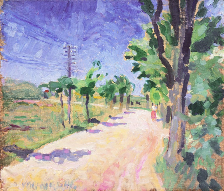Mogens Erik Christien Vantore Landscape Painting - Sunny Afternoon  (Post-Impressionism, Danish, Landscape, Blue, Green)
