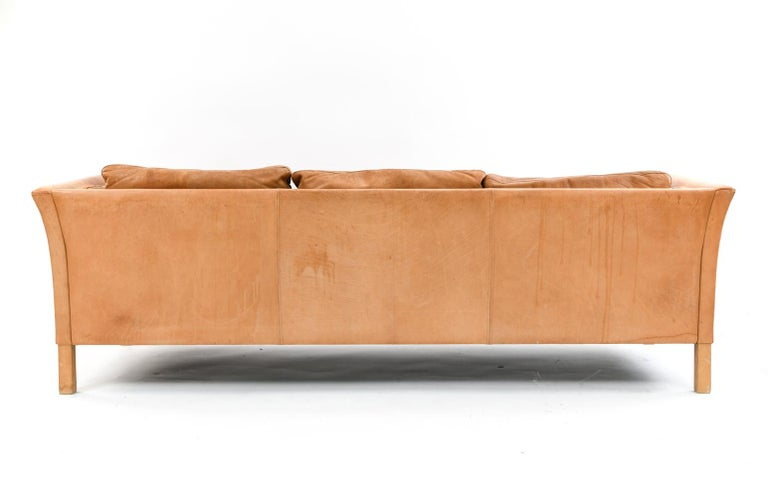 Mogens Hansen Brandy Color Leather Sofa For Sale 4