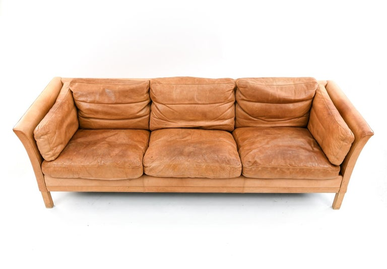 Mid-Century Modern Mogens Hansen Brandy Color Leather Sofa For Sale