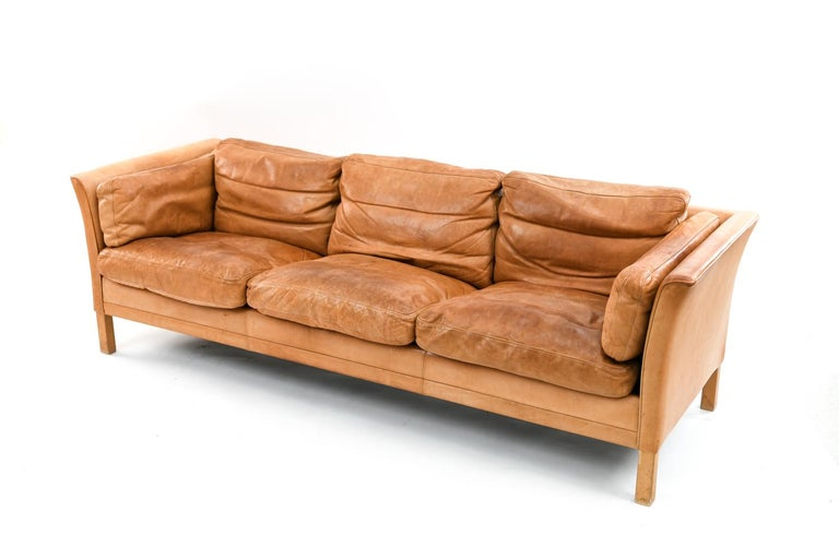Mogens Hansen Brandy Color Leather Sofa For Sale 2