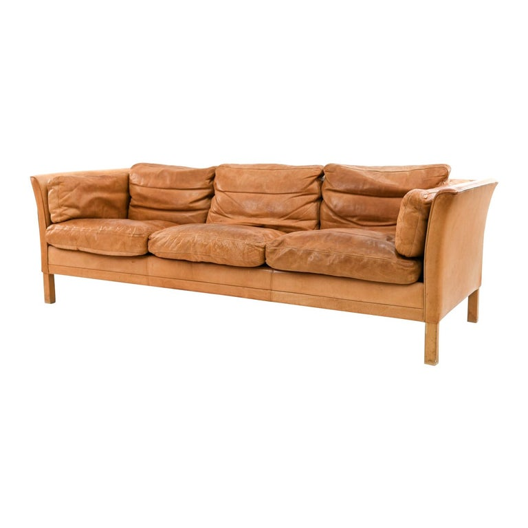 Mogens Hansen Brandy Color Leather Sofa For Sale
