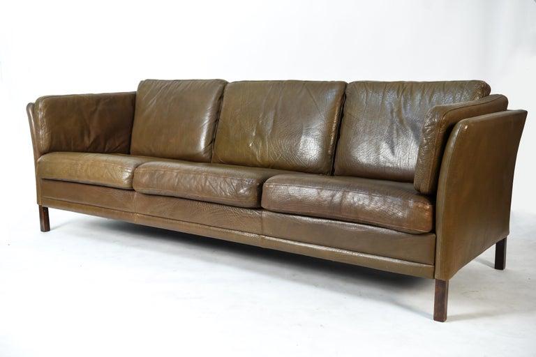 Mogens Hansen Buffalo Hide Leather 3 Seater Sofa For Sale