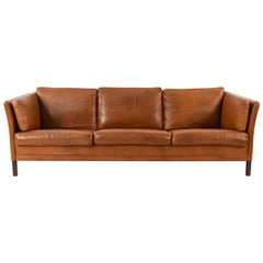 Mogens Hansen Danish Midcentury Børge Mogensen Style Leather Sofa