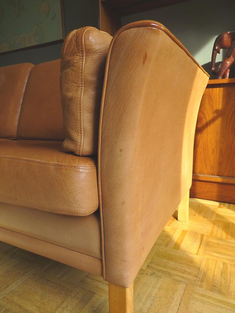 Mogens Hansen Danish Vintage Leather Sofas & Armchair Set in Butterscotch Brown 4