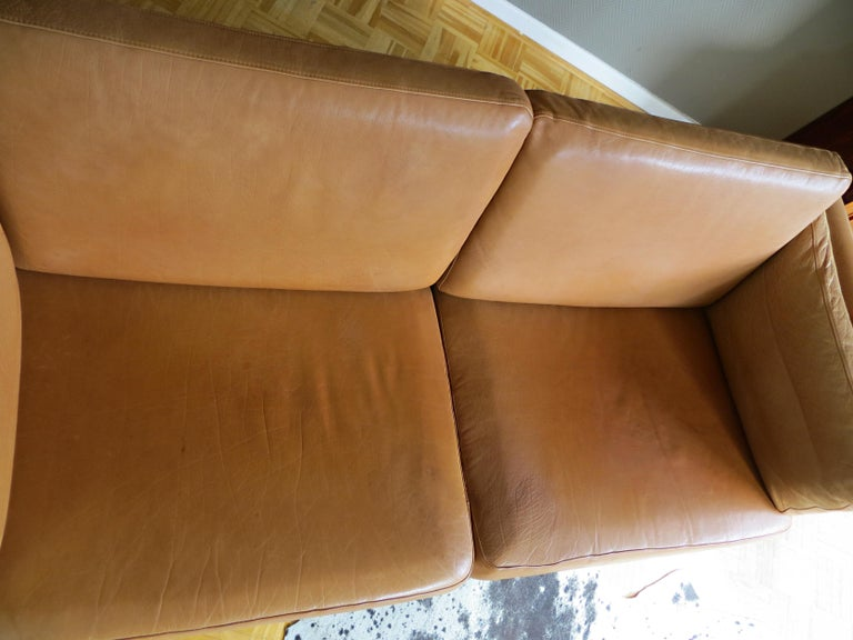 Mogens Hansen Danish Vintage Leather Sofas & Armchair Set in Butterscotch Brown 5