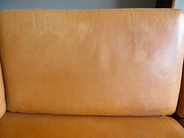 Mogens Hansen Danish Vintage Leather Sofas & Armchair Set in Butterscotch Brown 7
