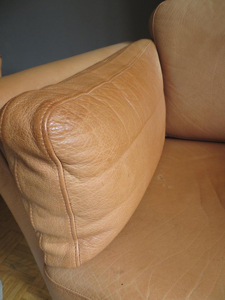 Mogens Hansen Danish Vintage Leather Sofas & Armchair Set in Butterscotch Brown 8