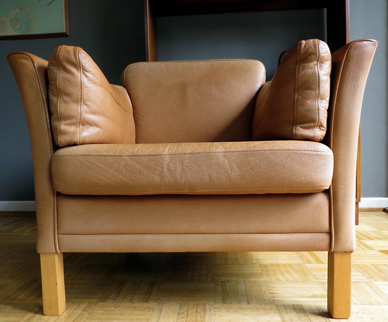 Mogens Hansen Danish Vintage Leather Sofas & Armchair Set in Butterscotch Brown 10