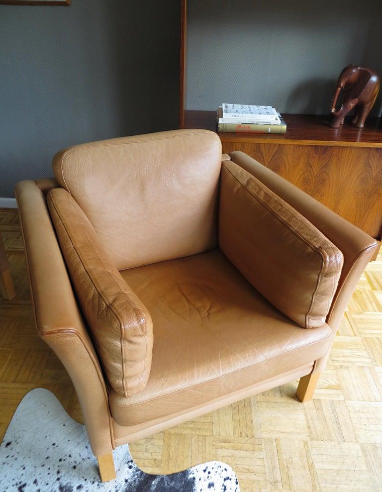 Mogens Hansen Danish Vintage Leather Sofas & Armchair Set in Butterscotch Brown 11