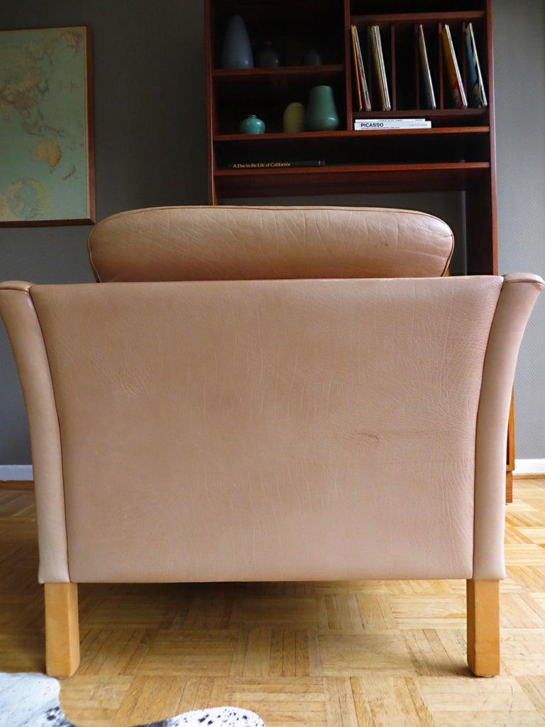 Mogens Hansen Danish Vintage Leather Sofas & Armchair Set in Butterscotch Brown 12