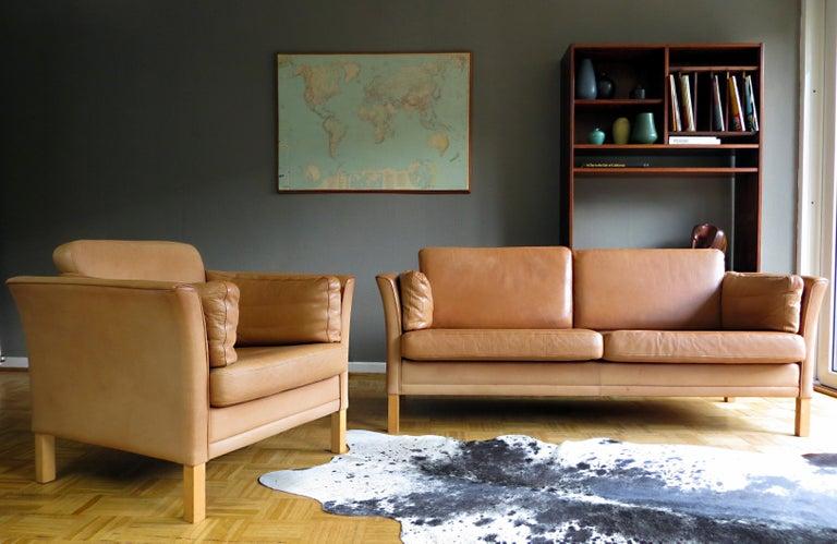 Scandinavian Modern Mogens Hansen Danish Vintage Leather Sofas & Armchair Set in Butterscotch Brown