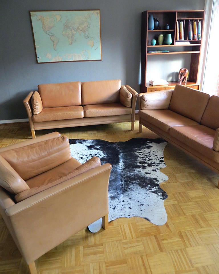 Mogens Hansen Danish Vintage Leather Sofas & Armchair Set in Butterscotch Brown In Good Condition In Hamburg, DE