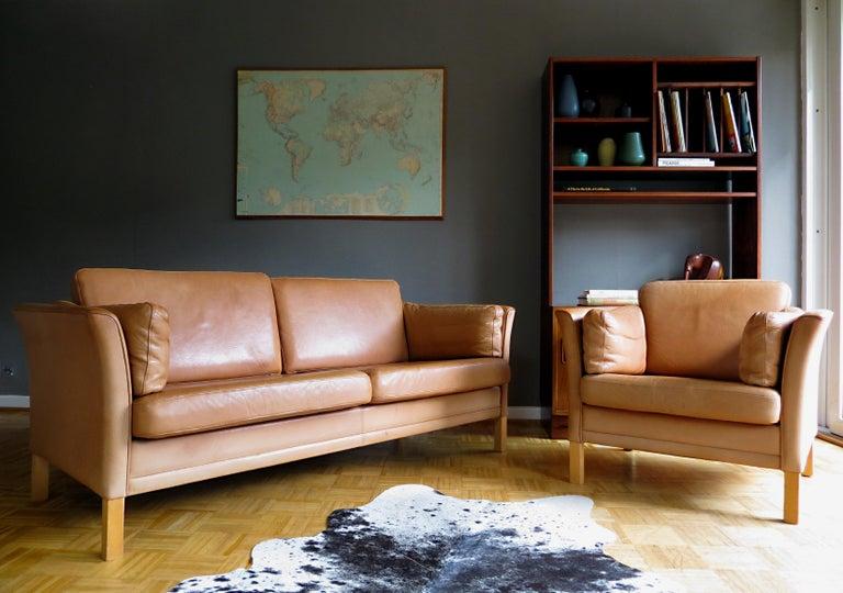 20th Century Mogens Hansen Danish Vintage Leather Sofas & Armchair Set in Butterscotch Brown