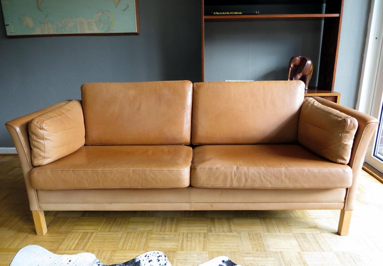 Wood Mogens Hansen Danish Vintage Leather Sofas & Armchair Set in Butterscotch Brown