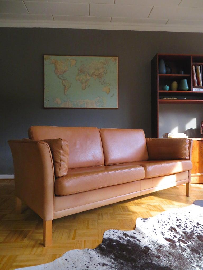 Mogens Hansen Danish Vintage Leather Sofas & Armchair Set in Butterscotch Brown 1