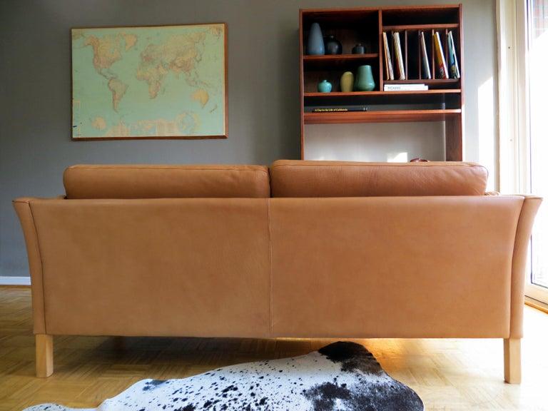 Mogens Hansen Danish Vintage Leather Sofas & Armchair Set in Butterscotch Brown 2