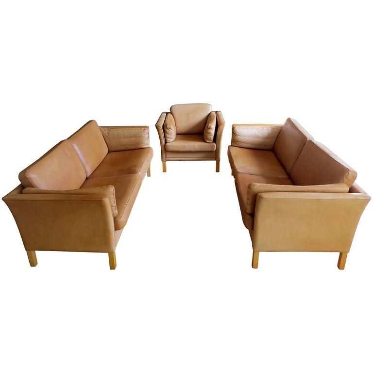 Mogens Hansen Danish Vintage Leather Sofas & Armchair Set in Butterscotch Brown