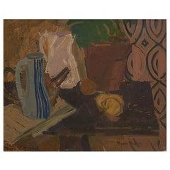 Mogens Hertz, Painting: Stilleben Jug, Lemons, Green Plant Etc