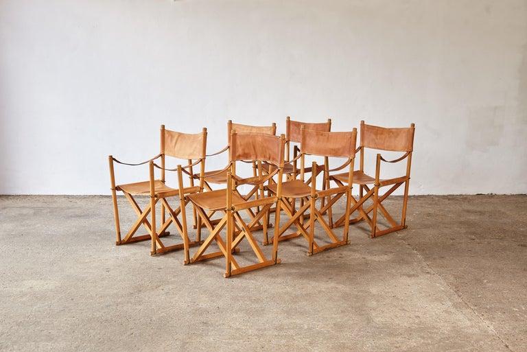 Mid-Century Modern Mogens Koch MK-16 Directors / Safari Chairs, Rud Rasmussen, Denmark, 1960s For Sale
