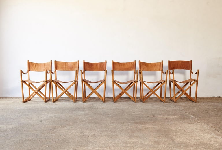 Danish Mogens Koch MK-16 Directors / Safari Chairs, Rud Rasmussen, Denmark, 1960s For Sale