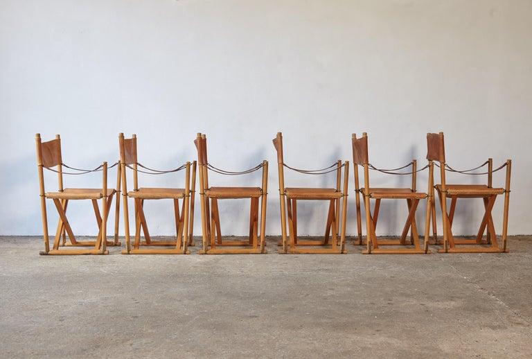 Leather Mogens Koch MK-16 Directors / Safari Chairs, Rud Rasmussen, Denmark, 1960s For Sale