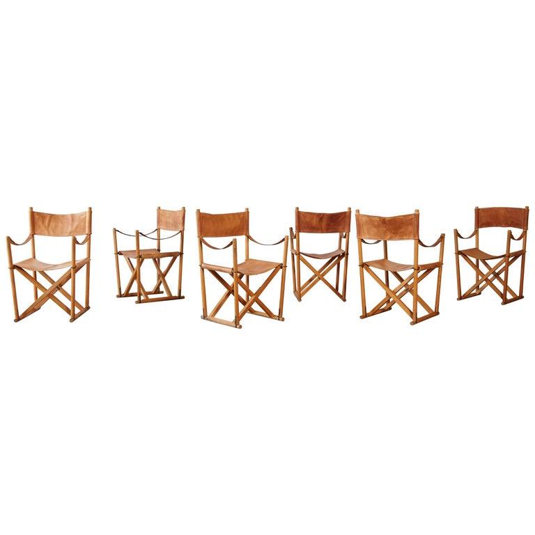 Mogens Koch MK-16 Directors / Safari Chairs, Rud Rasmussen, Denmark, 1960s For Sale