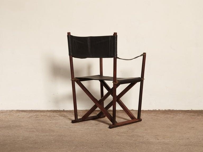 Danish Mogens Koch Rosewood MK-16 Directors / Safari Chair for Interna, Denmark, 1960s