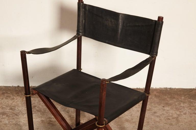 Wood Mogens Koch Rosewood MK-16 Directors / Safari Chair for Interna, Denmark, 1960s