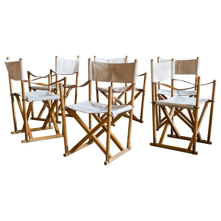 Mogens Koch Set of Six MK16 Folding Chairs for Rud Rasmussen, Denmark, 1950s For Sale