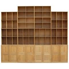 Mogens Koch Wall System Set of Oak Bookshelves and Cabinet