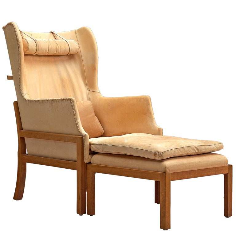 Mogens Koch Wingback Chair and Ottoman in Cognac Leather For Sale