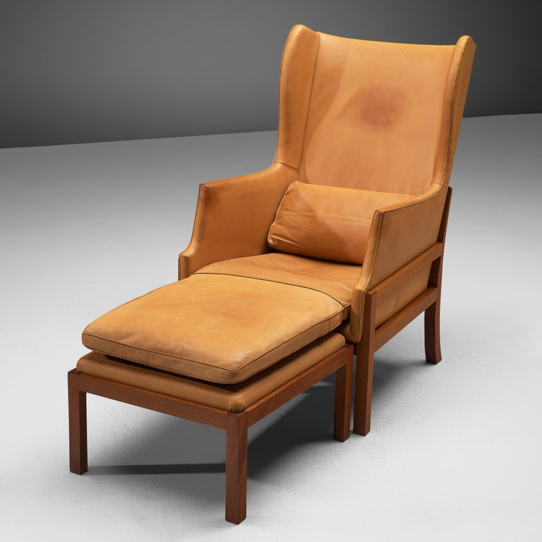 Mogens Koch Wingback Lounge Chair and Ottoman in Cognac Leather For Sale 4