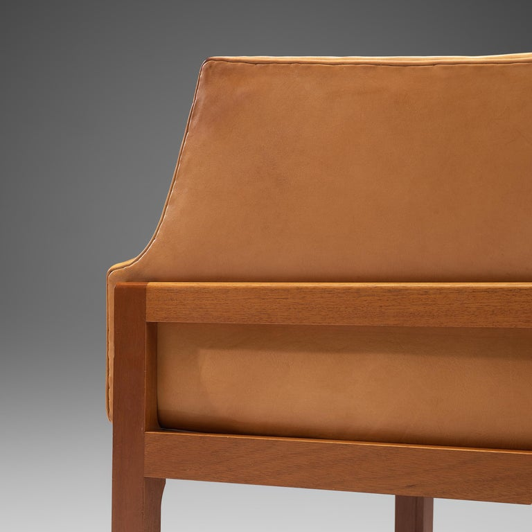 Mogens Koch Wingback Lounge Chair and Ottoman in Cognac Leather In Good Condition For Sale In Waalwijk, NL