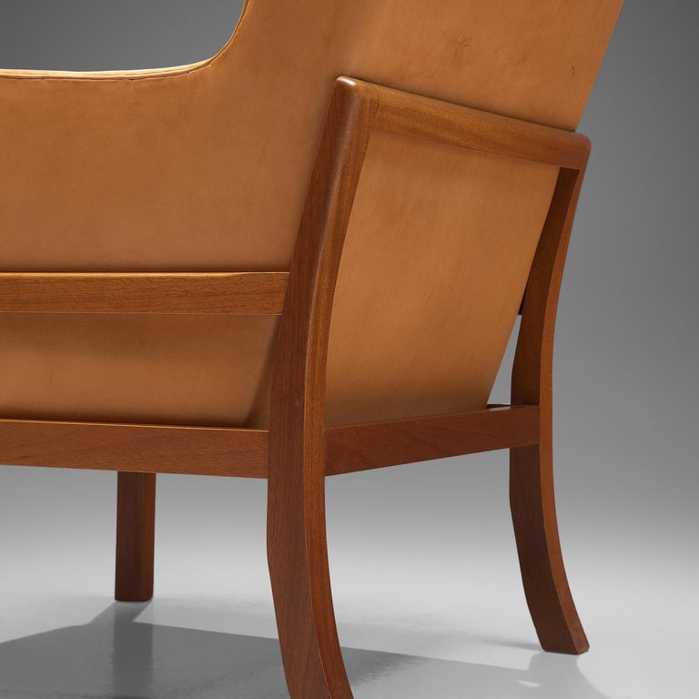 Mogens Koch Wingback Lounge Chair and Ottoman in Cognac Leather For Sale 1