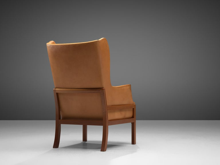 Mogens Koch Wingback Lounge Chair and Ottoman in Cognac Leather For Sale 2