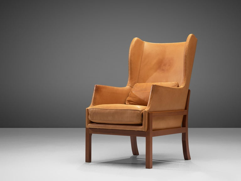 Mogens Koch Wingback Lounge Chair and Ottoman in Cognac Leather For Sale 3