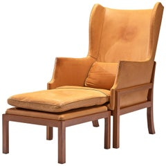 Mogens Koch Wingback Chair and Ottoman in Mahogany and Cognac Leather