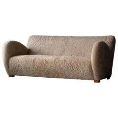Mogens Lassen 'attribution', Organic Sofa, Solid Beech, Sheepskin, Denmark 1940s