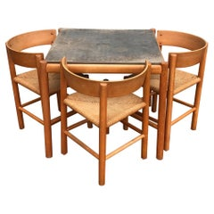 Mogens Lassen Beech Dining Table and Chairs in Beech for Fritz Hansen, 1960s