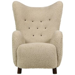 Mogens Lassen Lounge Wingback Chair 1940 Denmark, Teddy Fur & Leather, Sheepskin