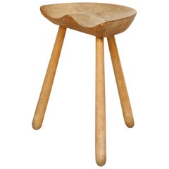 Mogens Lassen, Stool ML42, Elmwood, K. Thomsen, Origin: Denmark, Circa 1942