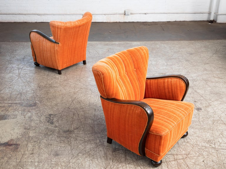 Mogens Lassen Style Danish 1940s Lounge Chairs with Carved Wood Armrests For Sale 4